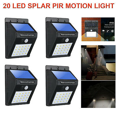 4X 20 LED Solar Powered Sensor PIR Motion Light Security Garden Outdoor Lights