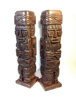 Pair of Brilliant Large TIKI / MAYAN Hand Carved Totems / Pedestals