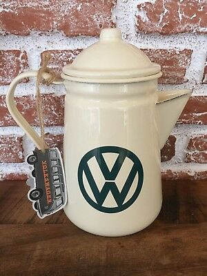 VW Enamel Coffee/Tea Pot, Room With A View, Cream with Green Logo
