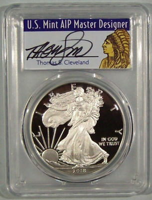 2018 W Silver Eagle Proof PCGS PR70DCAM FS Cleveland Signed Native Chief 1/1000