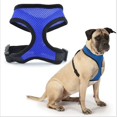 Adjustable Soft Mesh Fabric Dog Puppy Pet Padded Harness Vest Lead Leash Clip