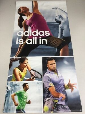 "Adidas 36""x72"" Tennis Players Store Display Poster Sign Racket Shirts Tanks Ad"