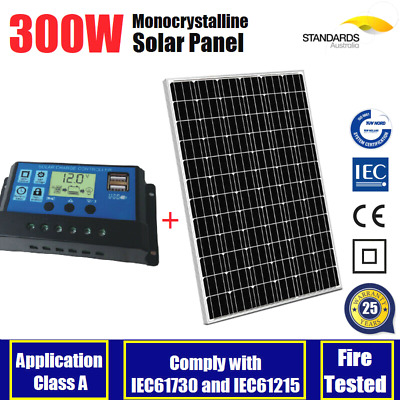 300W 12V Mono Solar Panel Caravan Battery Charging 30A Solar Regulator 300 Watt