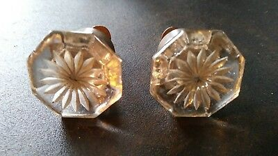 matching pair of antique glass door or drawer knobs