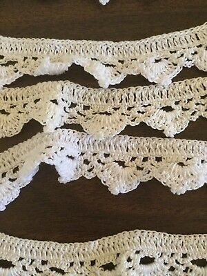 """VINTAGE HAND MADE WHITE  CROCHET LACE TRIM 4 yards 1"""" wide"""