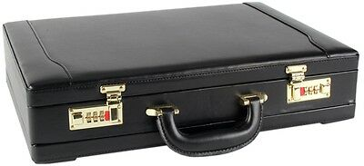 Mens Professional Leather Look Executive Briefcase with Golden Combination Locks