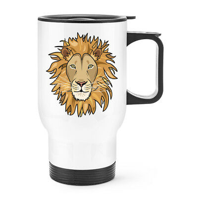 Lion Face Travel Mug Cup With Handle - Funny Animal Thermal Flask