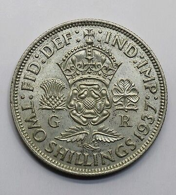 1937 UK 2 Two Shillings - George VI with 'IND:IMP' - 50% Silver Coin