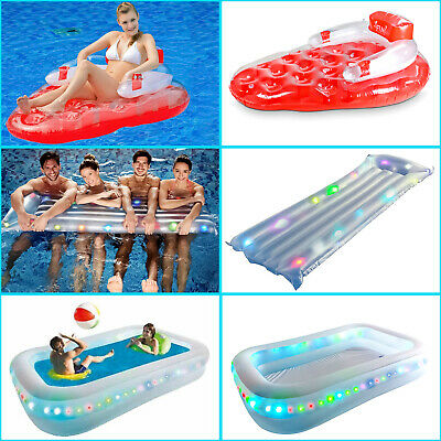 Inflatable Rainbow Paddling Swimming Pool Strawberry Floating Lounger Water Fun