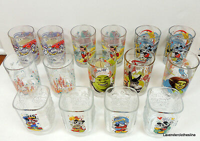 47254c36d5 Mixed Lot of 15 McDonalds Disney Glasses Shrek Epcot Goofy Donald 100 Years