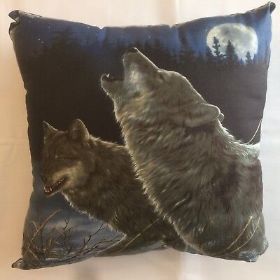 Beautiful New 15 X 15 Howling Wolf On Complete Wildlife Animal Theme Pillow #10