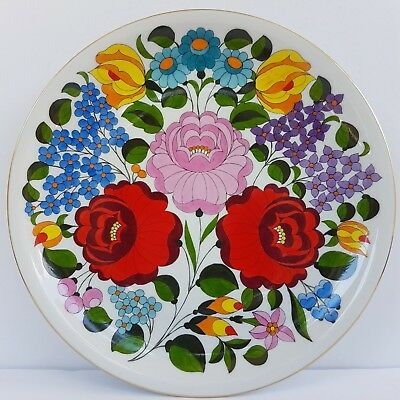 """Kalocsa Hungary Hand Painted Porcelain Decorated Wall Plate 9 1/2"""""""