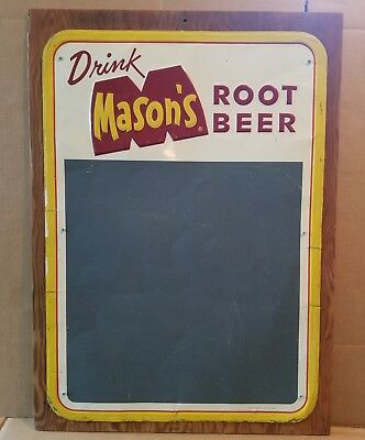 Mason's Old Fashioned Root Beer Metal Embossed Chalkboard Sign Stout Sign Co.