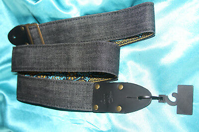 "LM  2""  Vintage Blac Denim Guitar Strap, Woven Back,Brown Leather Ends,MPN VD-NT"
