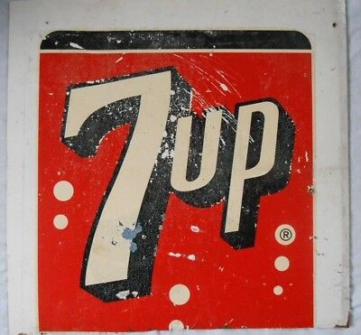 """VTG 1960's 7-UP DUROCHROME PRESS BOARD SIGN  ~ OLD GROCERY STORE SIGN 19""""x19"""""""