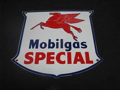 Mobilgas Special Shield Porcelain Sign