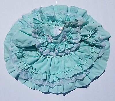 Vintage Girls Mint and Lace Detail Ruffle Party Frilly Full Circle Twirl Dress