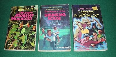 Hitchcock & 3 Investigators~Lot of 3 Scholastic PB~Monster,Shrinking, Phantom