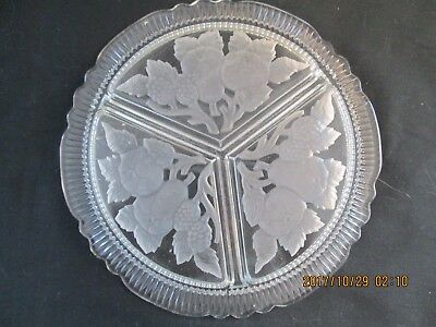 Vintage Clear Glass 3 Section Relish Dish Frosted Etched Pear Fruit Design 7""