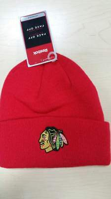 a84ca70e Reebok NHL Chicago Blackhawks Team Logo Classic Red Cuffed Knit Beanie Hat  Cap