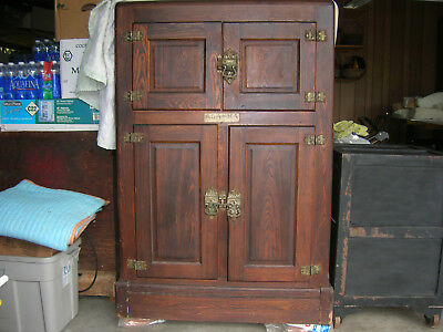Antique 4 Door Solid Oak Alaska Refrigerator Ice Box  1878 to 1926 Muskegon MI.
