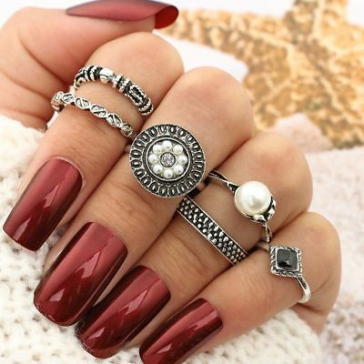 Antique Silver Ethnic Beach Midi Ring Pearl Ring Set Crown Carved Flower