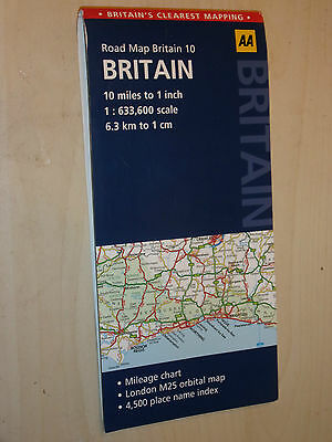 LARGE SERIES 10 FOLD-OUT ROAD MAP OF BRITAIN 1:633600 1cm:6.3Km SCALE