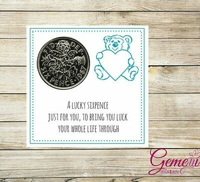 Lucky Sixpence Gift New Baby Boy Shower Christening First Birthday Keepsake