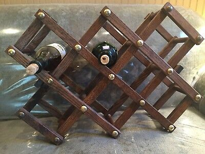 VINTAGE Collapsible Expandable OAK WOODEN Folding Accordion WINE RACK 10 Bottles