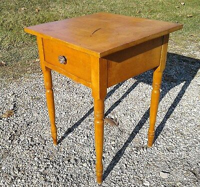 ANTIQUE TIGER MAPLE STAND ONE DRAWER 1850 Era