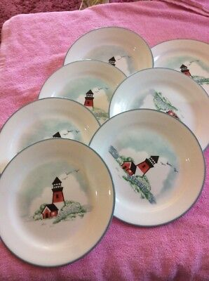 Corelle Outer Banks Lighthouses 7 Salad Bread Plates 7 1/4  & CORELLE OUTER BANKS Lighthouses 7 Salad Bread Plates 7 1/4