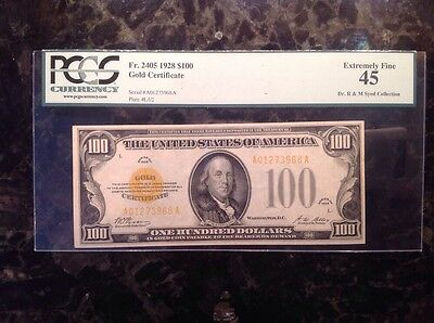 1928 $100 Gold Certificate - PCGS 45 - Extremely Fine- Dr. R&M Syed Collection