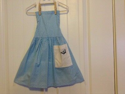 Child's New Adjustable Apron, Baby Blue with Small White Polka Dots