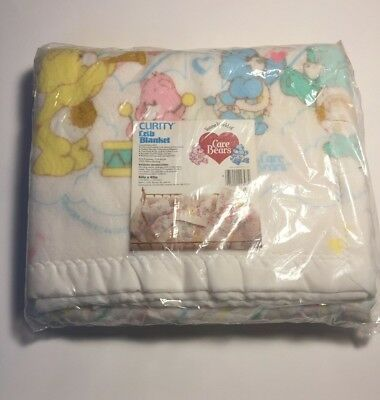 """Vintage Care Bears Crib Blanket Curity New 40"""" x 45"""" 1983"""