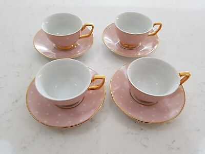 Christina Re Small Tea Cups/Espresso Cups Blush Pink with Poka Dots Set of 4