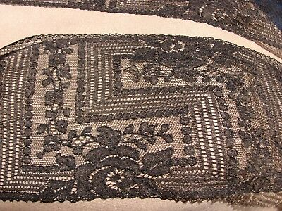 Antique Victorian Mourning  Scarf Lappet  Black Lace