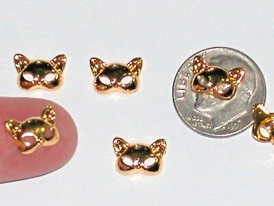 2 Miniature dollhouse Little Kitty Cat Ears Mask floating charm animal metal 8mm