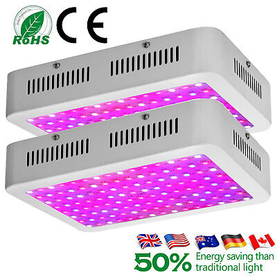 2x 1200W 1000W 600W LED Grow Light Panel Lamp for Plant Hydroponic Full Spectrum
