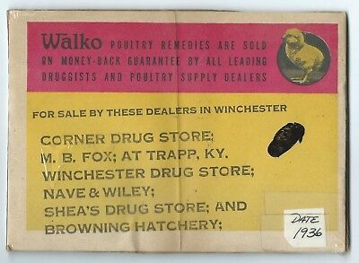 1936 Walko Poultry Remedies Advertisement-M. B. Fox Trapp, Ky.Plud Other Dealers