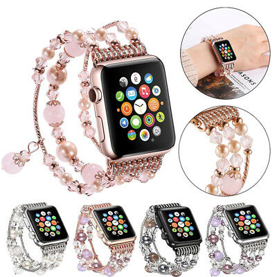 Bling Agate Beads Strap Bracelet Watch Band for Apple Watch iWatch 3 2 1 42/38mm