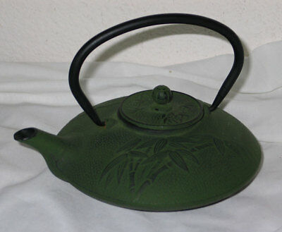 Vintage Japanese Cast Iron Tea Kettle Teapot w/ Bamboo Design - Verdigris