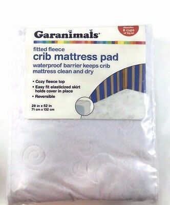 "Garanimals Crib Mattress Pad Fitted Fleece WATERPROOF Reversible 28"" x 52"" NEW"