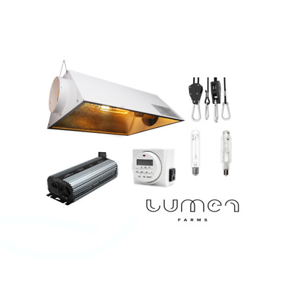 Lumen Farms Hydroponic 400W HPSMH Grow Light Bulb  Air Cooled Hood Reflector Kit