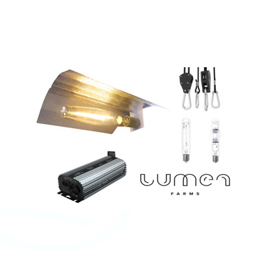Lumen Farms Hydroponic 400W HPSMH Grow Light Bulb  Wing Reflector Kit