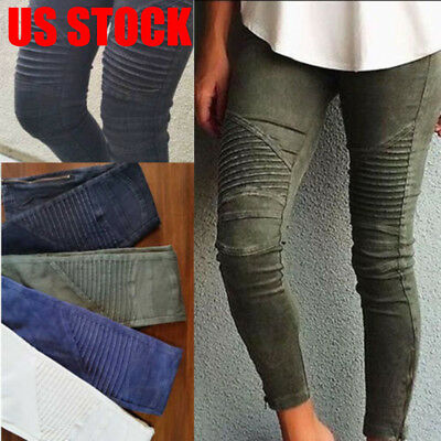 Women Skinny Stretchy Twill Jeans Pants High Waist Stretch Slim Pencil Trousers
