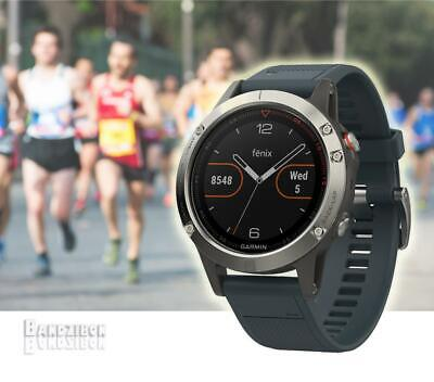 GARMIN Fenix 5 Watch Silver Blue Band GPS HRM Sports Running Training Triathlon