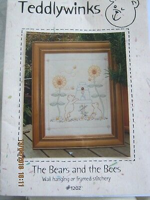 the bears and the bees wall hanging/ framed stitchery inc printed cloth pattern