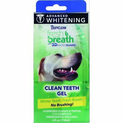 TropiClean Fresh Breath 3DMicroGuard Dog Advanced Whitening Teeth Gel Kit 4 oz