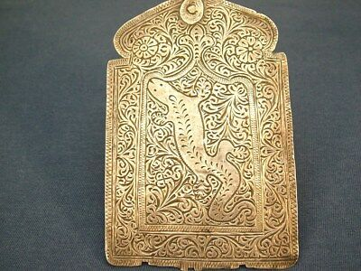 Antique Silver Indian Islamic Hamsa Pendant Amulet With Salamander