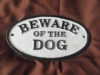 Vintage Style Cast Iron Oval Sign Beware of The Dog Brand NEW Rustic Ranch Look